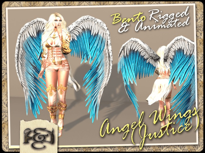 [EC] - Angel Wings (Justice) (White/Blue) (BENTO - Animated) (M/F) (Regular, Small, & Child Sizes)