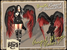 [EC] - Angel Wings (Valor) (Black/Red) (BENTO - Animated) (M/F) (Regular, Small, & Child Sizes)