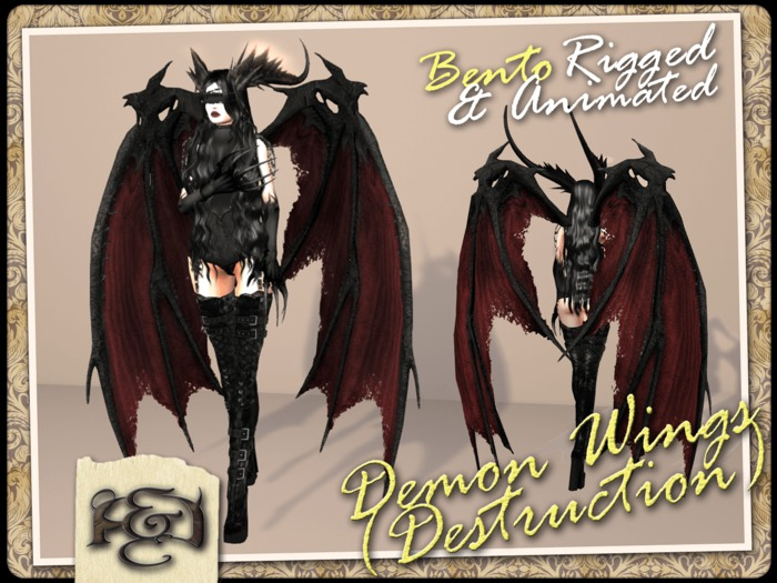 [EC] - Demon Wings (Destruction) (Red) (BENTO - Animated) (M/F) (Regular, Small, & Child Sizes)