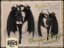 [EC] - Demon Wings (Terror) (Black) (BENTO - Animated) (M/F) (Regular, Small, & Child Sizes)