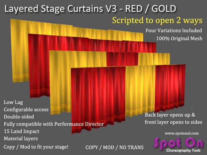 Spot On Layered Stage Curtains V3 - Red/Gold - Materials