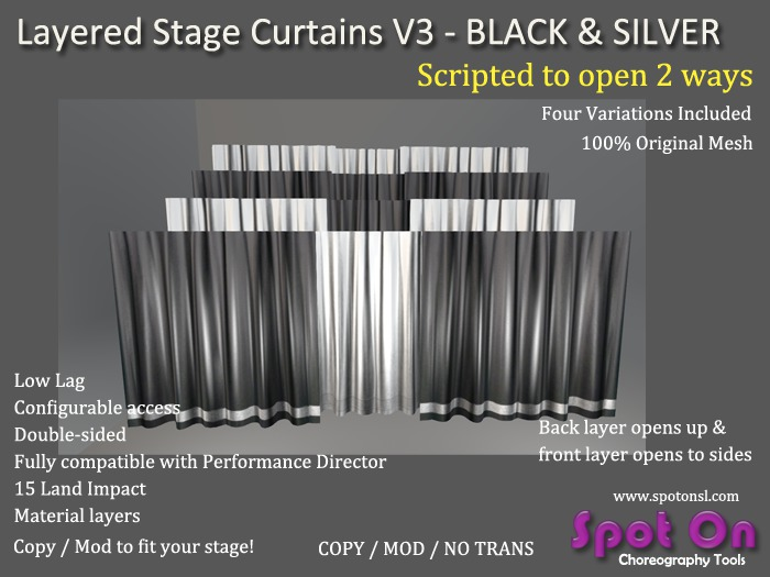 Spot On Layered Stage Curtains V3 - Black / Silver