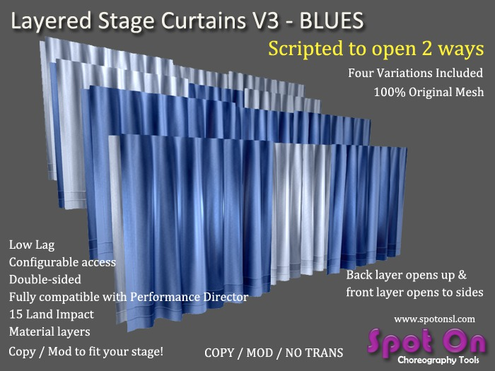 Spot On Layered Stage Curtains V3 - Blues