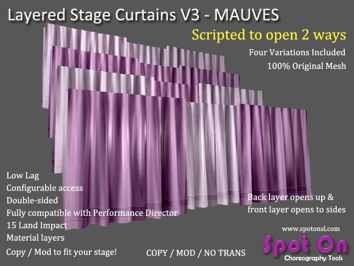 Spot On Layered Stage Curtains V3 - Mauves