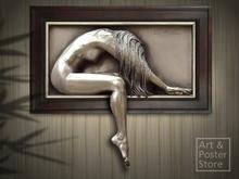 ELUSIVE Bill Mack | Part Framed Nude Bronze Relief Wall Hanging