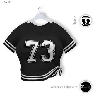 % S A L E % GAWK! Black Knotted Baseball Shirt   for Standard Avatar   works well with Maitreya Mesh Body