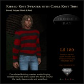 Ribbed Knit Sweater with Cable Knit Trim - Broad Stripe: Black & Red