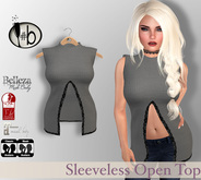 #b Gray Sleeveless Top with Slit and Lace Accent - Maitreya, Slink, Belleza GROUP GIFT