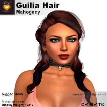 A&A Guilia Hair Mahogany,  curly rigged mesh half updo, free demo color