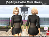 [S] Anya Collar Mini Dress Black