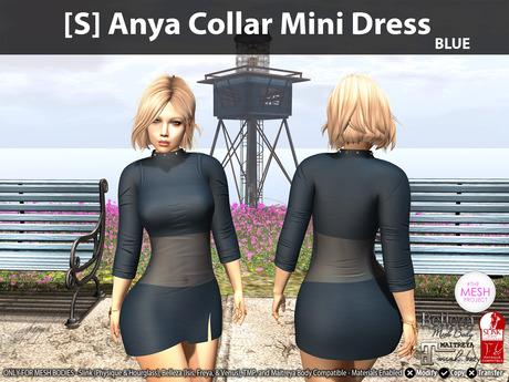 [S] Anya Collar Mini Dress Blue
