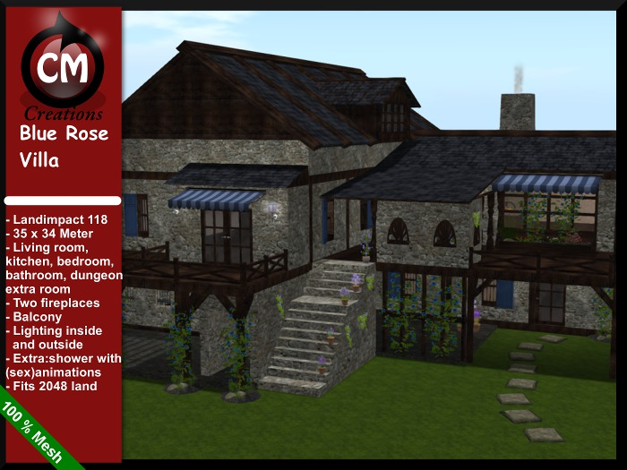 CM Creations, Blue Rose Villa, comes with dungeon!