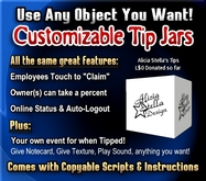 Copyable Customizable Tip Jars with percentage split - Use any Objects!