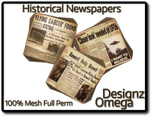 Historical Newspapers (Ufos) 100% Mesh Full Perm