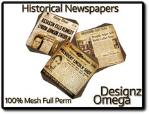 Historical Newspapers (Famous Deaths) 100% Mesh Full Perm