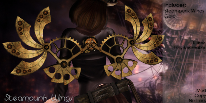 +XAnSA+ Steampunk Wings - Gold