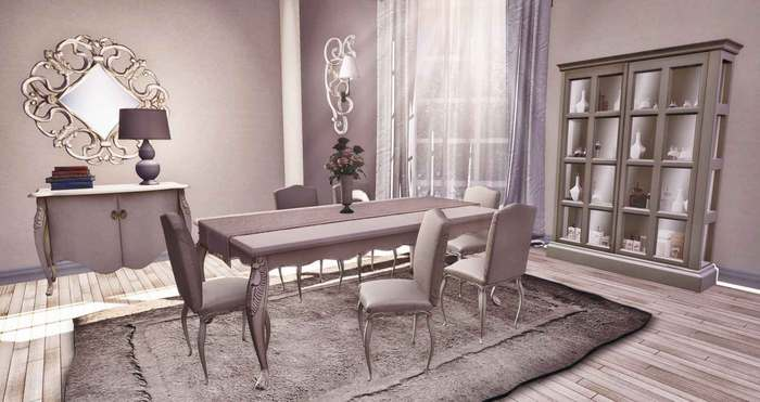<HEART HOMES> French Country dining room complete- Dining chairs also includes kids animations. Special family dining