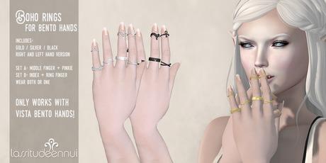 lassitude & ennui Boho ring set for Vista Bento Hands