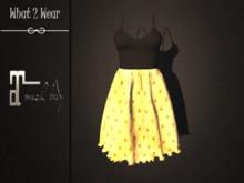 .::What2Wear::. Dress-Bella Black Gold- Maitreya