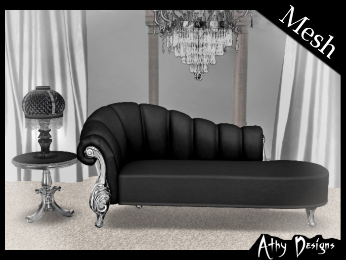 Second Life Marketplace Athy Designs Black Victorian Silver Chaise Fainting Couch Lamp Table Antique Baroque Gothic Living Room Furniture