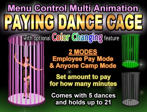 Copyable Paying Dance Cage - Earn While Dancing - Built-In Animation Menu