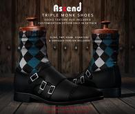 //Ascend// Triple Monk Shoes - Black