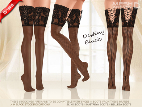 ::MA:: DESTINY compatible BLACK Lace Mesh Stocking - 12 OPTIONS