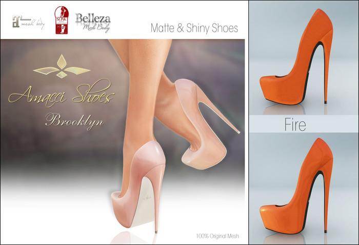 Amacci Shoes - Brooklyn - Fire (Maitreya, Slink, Belleza)