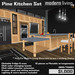 Pine/Black Kitchen Set (Packaged)