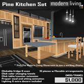 Pine/Black Kitchen Set (Packaged)