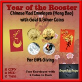 Year of the Rooster Red Envelopes & Coins