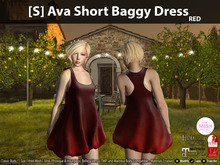 [S] Ava Short Baggy Dress Red