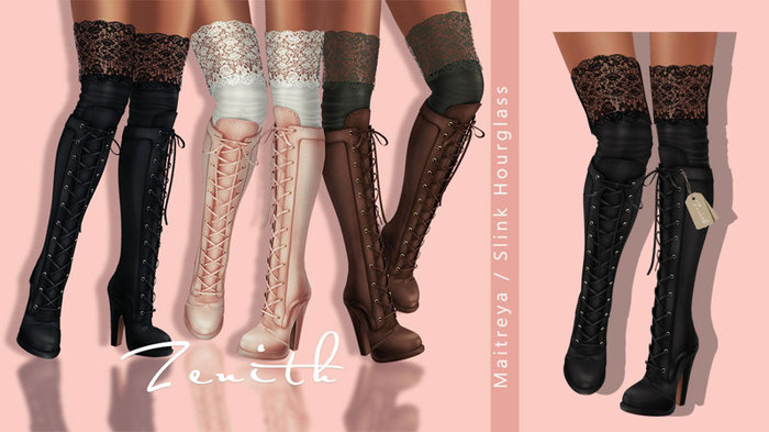 =Zenith=Leather Boots with Lace Socks (Black)