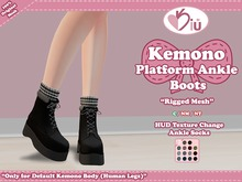*>Kiu<* - Kemono Platform Ankle Boots_Black