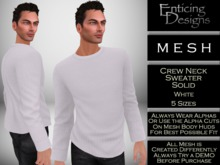 *ED Mens Mesh Solid White Color Knit Crew Neck Sweater with Long Sleeves