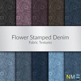 Flower Stamped Denim Seamless Fabric Textures