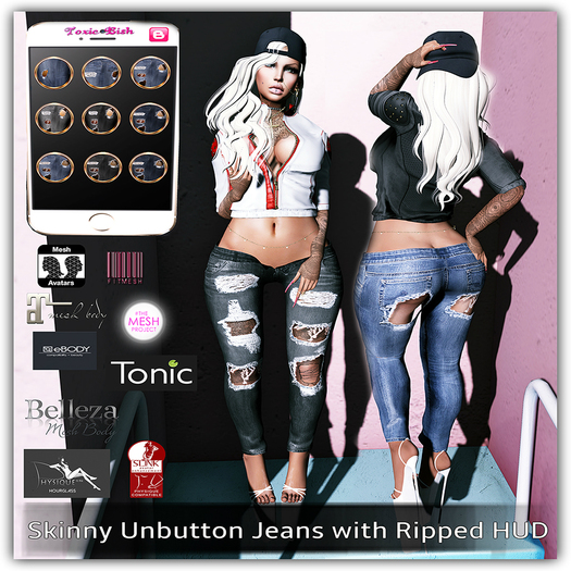 <Toxic Bish> Skinny Unbutton Jeans with Ripped HUD