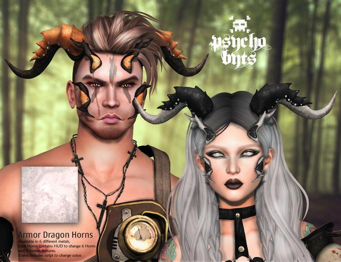 .{PSYCHO:Byts}. Armor Dragon Horns - Silver BOX