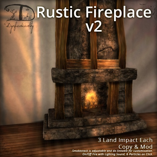 [DDD] Rustic Fireplace v2  - 3 LI, On/Off Realistic Lighting