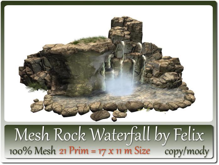 Mesh Rock Waterfall by Felix 21 Prim = 17x11m Size copy/mody