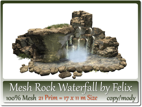 Mesh Rock Waterfall by Felix 21 Prim = 17x11m Size copy/mody