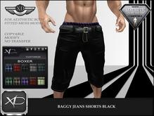 Baggy Jeans Shorts Black - (NIRAMYTH) - AESTHETIC
