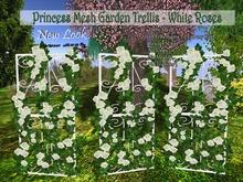 Princess 1 LI Mesh Garden Trellis - White Roses with Resizer & Fullbright Option