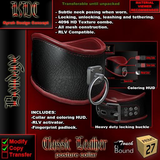 KDC classic leather posture collar