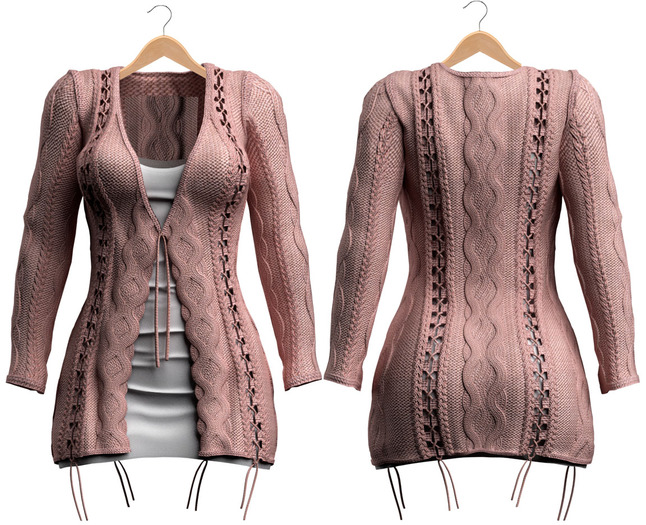 Blueberry - Cutieberry Cardigan Set - Maitreya, Belleza (All), Slink Physique Hourglass - ( Mesh ) Pixie