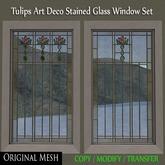 ER Tulips Art Deco Stained Glass Mesh Windows - Full Perm