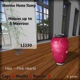 Meeroos Home  Vase - Pink Hearts  V3.0 BOXED L250