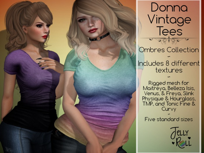 Donna Vintage Tee - 8 Texture HUD Ombres
