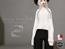 AMRIE - Looong sleeve knit(White)
