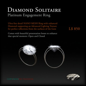 Diamond Solitaire Engagement Ring - set in Platinum by Trimmer Bay - NANO MESH with A.L.T.
